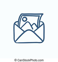 Envelope mail with photo sketch icon.