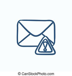 Envelope mail with warning signal sketch icon.