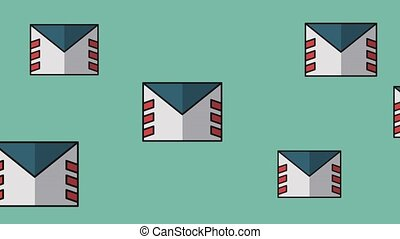 Envelope mails concept HD - Mail envelope moving over blue...