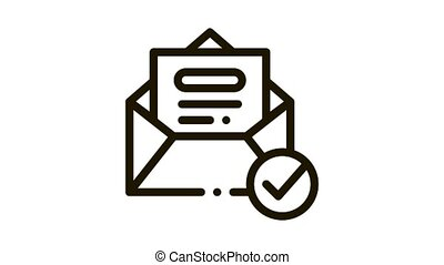 Envelope Message List And Approved Mark animated black icon on white background