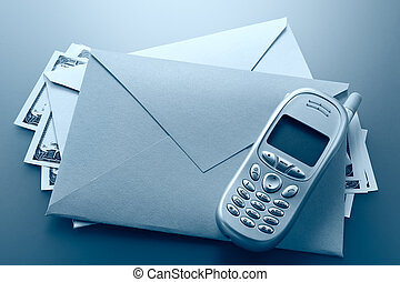 Envelope, mobile phone, dollars
