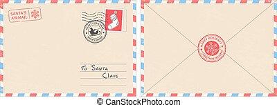 envelope., norte, correio, cartão postal, surpresa, claus, ilustração, querido, polaco, vetorial, santa, criança, cachet, carimbo postal, letra, natal