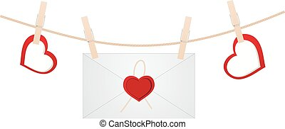 Envelope on the clothespin with hearts. Vector illustration.