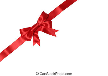 Envelope or card on gift with bow for gifts on Christmas or Valentines day isolated on a white background