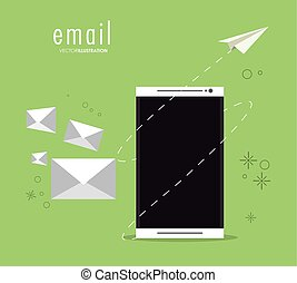 Envelope paper plane smartphone email icon. Vector graphic