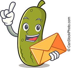 Envelope pickle character cartoon style