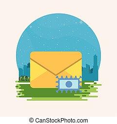envelope postal service with stamp