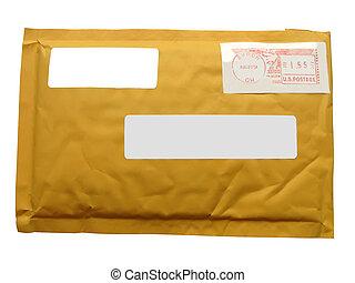 envelope), recyclage, papier, (transit, paquet, jaune, une, courrier