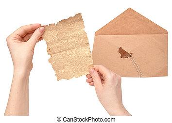 envelope, selo, abertos, quebrada