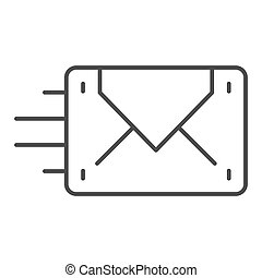 Envelope sending thin line icon. Mail vector illustration isolated on white. Letter outline style design, designed for web and app. Eps 10.