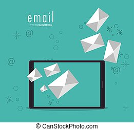 Envelope smartphone email message mail icon. Vector graphic