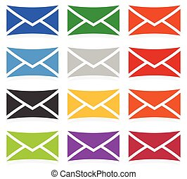 Envelope symbols in 12 colors as contact, support, email icons, buttons