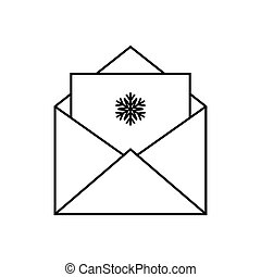 Envelope with a greeting card. Merry Christmas. Vector illustration