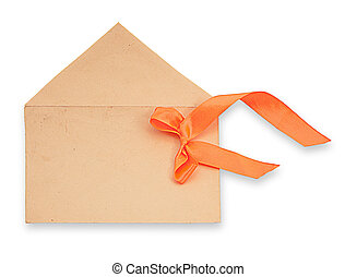 envelope with an orange tape on a white background