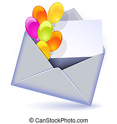 Open envelope with colorful balloons and letter