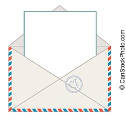 Envelope with blank letter, vector