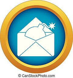 Envelope with bomb icon blue vector isolated