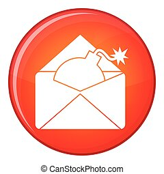 Envelope with bomb icon, flat style