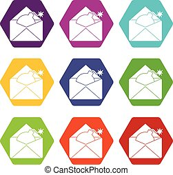 Envelope with bomb icon set color hexahedron