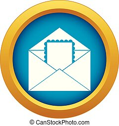 Envelope with card icon blue vector isolated