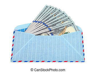 Envelope with cash in dollars isolated on white background