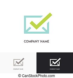 Envelope with check mark logo