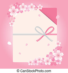 Envelope with cherry blossom flower