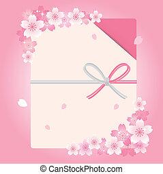 Envelope with cherry blossom flower