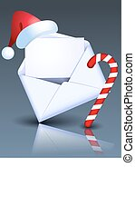 Envelope with Christmas candy and Santa hat