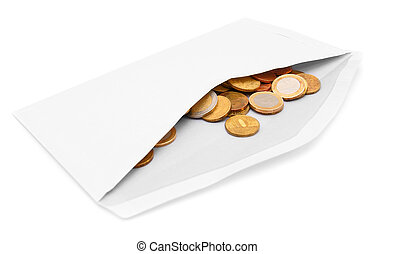 Envelope with coins. On a white background.