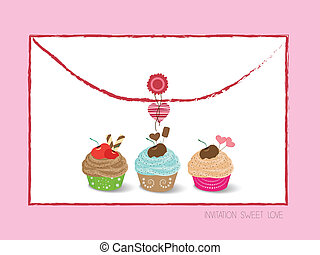 envelope with cupcakes