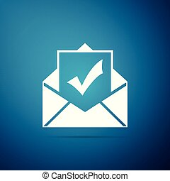 Envelope with document and check mark icon isolated on blue background. Successful e-mail delivery, email delivery confirmation, successful verification concepts. Flat design. Vector Illustration