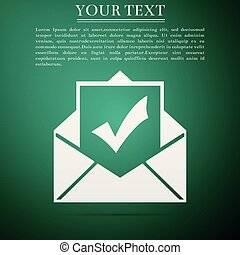 Envelope with document and check mark icon isolated on green background. Successful e-mail delivery, email delivery confirmation, successful verification concepts. Flat design. Vector Illustration