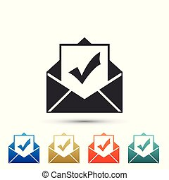 Envelope with document and check mark icon isolated on white background. Successful e-mail delivery, email delivery confirmation, successful verification concepts. Flat design. Vector Illustration