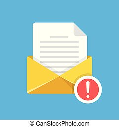 Envelope with document and exclamation point. E-mail, notification, suspicious email, warning, fraud alert concepts. Modern flat design. Vector illustration