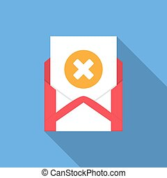 Envelope with document and round orange cross icon. Vector illusrtation