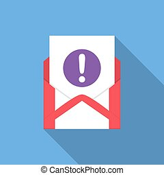 Envelope with document and round purple exclamation point icon. Vector illusrtation
