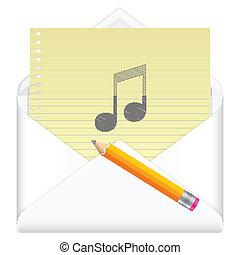 envelope with drawing music symbol