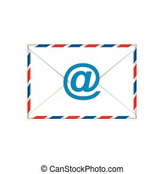Envelope with e-mail sign flat icon