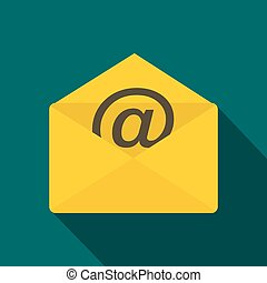 Envelope with e mail sign icon, flat style