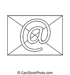 Envelope with e mail sign icon icon, outline style