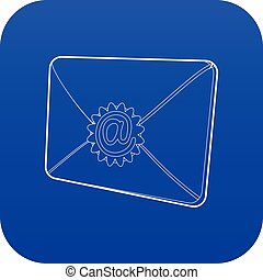 Envelope with email sign icon blue vector