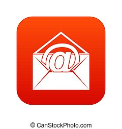 Envelope with email sign icon digital red