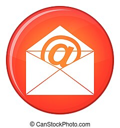 Envelope with email sign icon, flat style