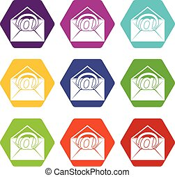 Envelope with email sign icon set color hexahedron