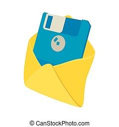 Envelope with floppy disk icon, cartoon style
