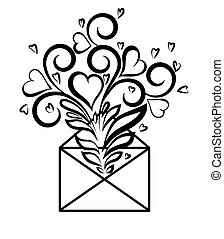 Envelope with floral design and hearts, the symbol of love...