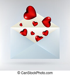 Envelope with glassy red hearts. EPS 8