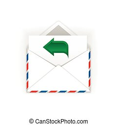 Envelope with green arrow flat icon