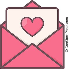 Envelope with heart inside.